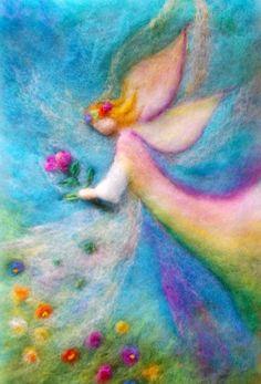 Cornelia Lauwaert copyright © 2013 - All rights reserved Felt Pictures, Angel Pictures, Wet Felting, Diy Laine, Felt Angel, Needle Felting Tutorials, Felt Fairy, Wool Art, Art Textile