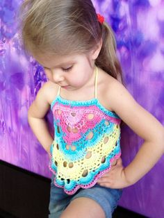 Crochet toddler baby crop top Lollilop open back kids top Beach cildrens outfit Boho festival colorful clothing Crochet rainbow top Gift Niño recortar tapa / Swing back superior / Festival del Tops Tejidos A Crochet, Crochet Crop Top, Love Crochet, Diy Crochet, Crochet Baby Sweaters, Crochet Baby Clothes, Crochet Toddler, Crochet For Kids, Crochet Stitches Patterns