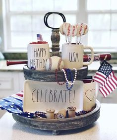 Honor Old Glory as it plays a big part in decor on a patriotic farmhouse tiered tray. Get ready for a little American Red, White & Blue pride! Easy elegant trays are perfect for of July decorating, memorial, flag, and labor day. Fun additions for par All You Need Is, Felt Ball Garland, Tiered Stand, Country Farmhouse Decor, Farmhouse Style, Cottage Farmhouse, Country Kitchen, Modern Farmhouse, Country Style Homes