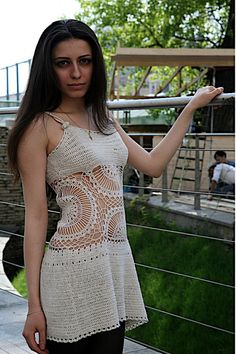 Personalized crochet mini dress with lace inset  eco by Lopushka, $220.00
