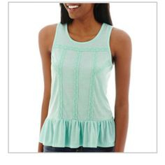 Brand NWT dropped waist aqua peplum babydoll shirt Brand new never worn aqua baby doll shirt 65% polyester 35% rayon Arizona Jean Company Tops