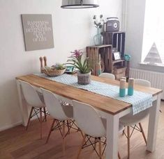 Contemporary style kitchen designs are among the methods to go. Wooden Living Room Furniture, Furniture Dining Table, Wooden Dining Tables, Dining Table Design, Modern Dining Table, Rustic Furniture, Timber Table, Small Dining, Dining Chair