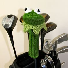 Kermit the Frog Muppet Knit Golf Club Cover by TraceyKnits on Etsy, $40.00