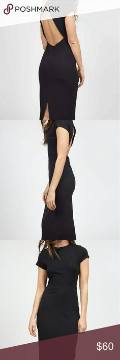 🌞LD SALE🌞Free People Fitted Midi Dress NWT Black ribbed fitted midi dress by Free People with open back detail. Free People Dresses