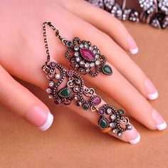 Vintage Gold Plated Flower Wedding Adjustable Two Finger Rings Turkish  Jewelry  Unbranded  Flower Vintage 33ff68517a5