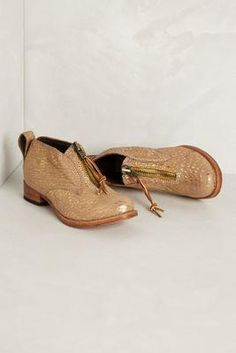 Anthropologie Shimmered Zip Booties by Jim Barnier Gold 7 's
