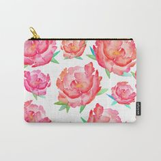 Organize your life with our Carry-All Pouches - Watercolor peony pattern. Watercolor Peony, Organize Your Life, Peony Flower, Spring Flowers, Pouches, Wood Art, Peonies, Totes, Coin Purse
