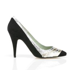 Sim black faux suede upper and gold and silver metallic faux snake front detail pointed vegan high heel stiletto shoe made from synthetic faux suede and PU faux non leather snake 100% Vegan, vegetarian and cruelty-free.