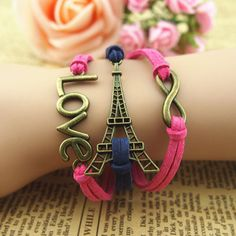 Fashion jewelry promotion store,Supply all kinds of cheap fashion jewelry Hand-weaved Bronze LOVE and Eiffel Tower Multi-layers Leather Bracelet - Cheap Fashion Jewelry, Cheap Jewelry, Jewelry Shop, Fashion Accessories, Jewelry Ideas, Diy Jewelry, Girls Accessories, Luxury Jewelry, Jewelry Gifts