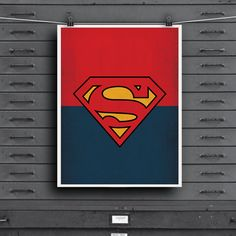 "DC Universe Comic Store Superheroes Minimalist ""Superman"" Art Poster - Retro Style Print Home Decor Wall Art Nursery Marvel Comics"