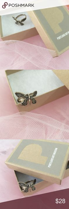 New! Silver Butterfly ring Portland Art museum This gorgeous butterfly ring was bought from the Portland Art Museum. Never worn.  Beautiful silver work.  I think it's size 7. It will come with the box .  Same day shipping☺️.      🚫PP 🚫Trades Musuem Of Art Portland Accessories