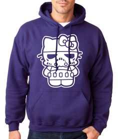 HELLO STORM TROOPER HOODIE Hello Kitty Hooded Sweatshirt Retro Purple Starwars #RockCityThreads #Hoodie
