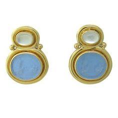Elizabeth Locke Intaglio Venetian Glass Moonstone 19k Gold Earrings