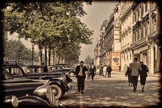Paris Champs Elysees in 1952 with Vintage Cars and by eeBeeVintage