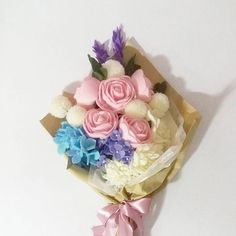Roses, chrysanthemum, gardenia, purple spikes, blue hydrangea and our new purple hydrangea