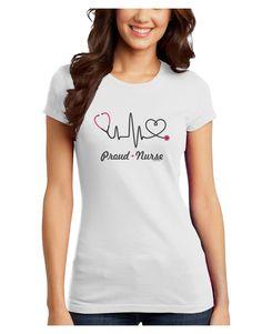 TooLoud Stethoscope Heartbeat Text Juniors Petite T-Shirt