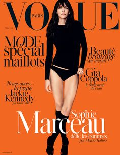 Sophie Marceau on the cover of Vogue Paris wearing La Perla silk culotte briefs.