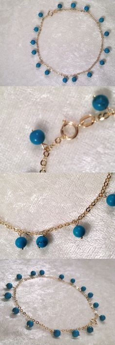 Fine Anklets 101437: 14K Yellow Gold 9 Turquoise Bead Dangle Ankle Bracelet (M430-5-20) -> BUY IT NOW ONLY: $108.4 on eBay!