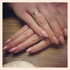 Nude almond shaped acrylics