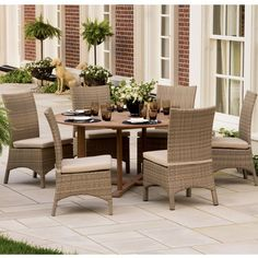 Outdoor Oxford Garden 67 In Round Patio Dining Set With Torbay Side Chairs Seats