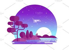 Illustration of Beautiful midnight landscape, beautifully designed for website and print purpose, Deliverables Includes: 300 DPI JPG file 300 DPI PNG file Flat Design Illustration, Landscape Illustration, Digital Illustration, Graphic Illustration, Vector Illustrations, Vector Design, Vector Art, Design Art, Site Design