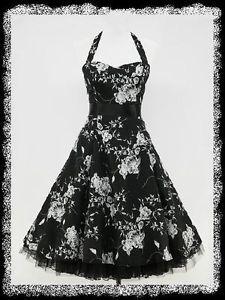 dress190-BLACK-FLORAL-HALTER-NECK-50s-ROCKABILLY-SWING-PROM-VINTAGE-PARTY-DRESS