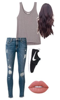 """""""Randomness"""" by gracelovesanimals ❤ liked on Polyvore featuring Rebecca Minkoff, Frame Denim, Lime Crime and NIKE"""
