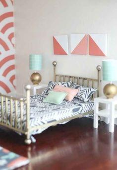 Modern miniature bedroom in 1/12 scale