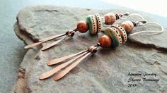 TASSELS  tribal earrings copper ceramic by livewirejewelrysb