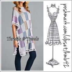 Patchwork Poncho Adorable and unique, patchwork poncho with tassel detail. Sutble muted colors of lavender, blue, grey and beige. Perfect for throwing on over a tee & pairing with leggings, jeggings, or jeans. OSFM price is firm unless bundled. Threads & Trends Sweaters Shrugs & Ponchos
