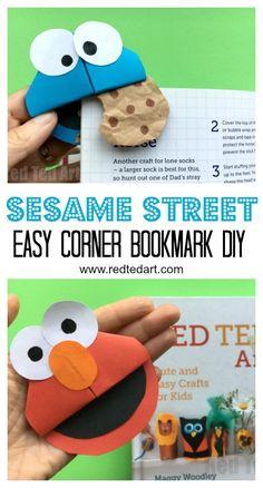 Love these Sesame Street Corner Bookmark DIYs - make this adorable Cookie Monster Bookmark and Elmo! We love easy paper crafts for kids! #sesamestreet #bookmarks