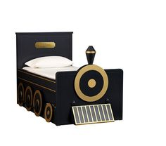 Personalized Train Bed & Trundle | Pottery Barn Kids Circle wheels, circle & funnel front and maybe a grate.