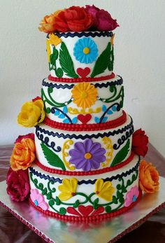 mexico themed wedding cake mexican embroidery inspired wedding cake painted 17327