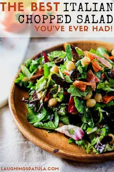 This Italian Chopped Salad comes with a homemade Lemon-Basil Vinaigrette dressing! Delicious hearty and full of flavor- you dont want to miss this one! via LaughingSpatula Italian Chopped Salad, Chopped Salad Recipes, Italian Salad, Healthy Salad Recipes, Diabetic Recipes, Healthy Foods, Lemon Basil Vinaigrette, Vinaigrette Dressing, Cookbook Recipes