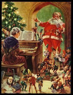 "Christmas DIY: Vintage 1950 ""Christ Vintage 1950 ""Christmas Caroling with Mr Mrs Santa Claus"" Art Print Old Time Christmas, Old Fashioned Christmas, Christmas Scenes, Christmas Past, Christmas Books, Christmas Carol, Father Christmas, Christmas Mantles, Christmas Villages"