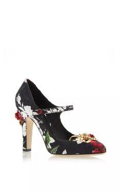 Rose Print Embellished Mary Jane by Dolce & Gabbana for Preorder on Moda Operandi
