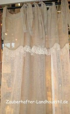 white lace on ecru linen – sheer with ties