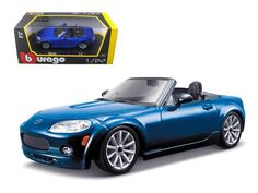 Mazda Miata MX-5 Blue 1/24 Diecast Model Car by Bburago - Brand new 1:24 scale diecast car model of Mazda MX-5 Miata die cast car by Bburago. Brand new box. Rubber tires. Has opening hood and doors. Made of diecast with some plastic parts. Detailed interior, exterior, engine compartment. Dimensions approximately L-8,W-3,H-2.5 inches. Please note that manufacturer may change packing box at anytime. Product will stay exactly the same.-Weight: 2. Height: 6. Width: 11. Box Weight: 2. Box Width…
