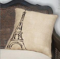 Eiffel Tower, Paris - Burlap Feed Sack Pillow by Next Door to Heaven eclectic pillows