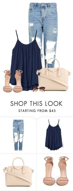 """Navy Tank And Nude"" by queenmilliefaith ❤ liked on Polyvore featuring Topshop, Gap, Givenchy, Stuart Weitzman and River Island"