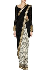 Sarees, Carma, Ivory and black sequin border floral printed saree,  ,  ,  ,  ,  ,  ,  ,  ,  ,  ,  ,  ,