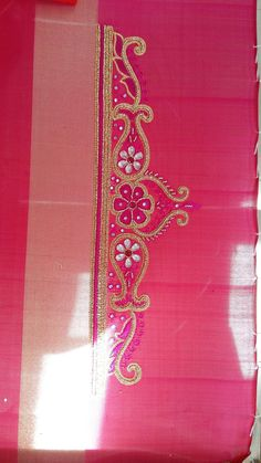 Hand Embroidery Design Patterns, Aari Embroidery, Embroidery Works, Beading Patterns, Blouse Designs High Neck, Sari Blouse Designs, Hand Designs, Flower Designs, Maggam Works