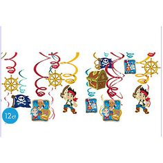 Jake and the Neverland Pirates Foil Swirl Decorations | 12 ct