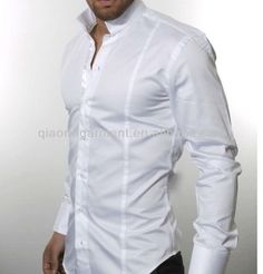 メンズバンドカラー光沢のある綿サテンのドレスシャツ
