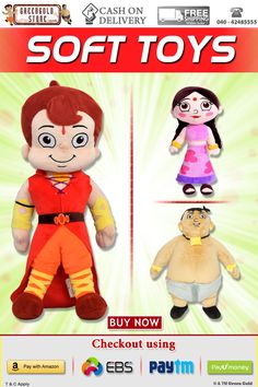 Perfect Gift for your little one! Soft & Cuddly @Chhota Bheem Soft Toys range starting 99/- onwards. Cash on Delivery Available! Know more: http://www.greengoldstore.com/chhota-bheem-soft-toys.html