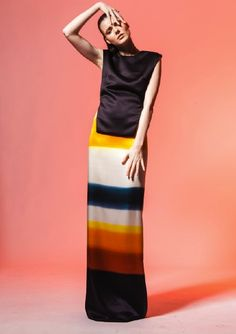 Kathlyn Bowling's Graduate Collection 2012    -hand painted satin silk dress worn with vest.
