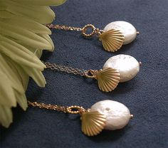 15 OFF SALE  Seashell and Pearl Bridesmaid Necklaces by FiveThirty, $80.00