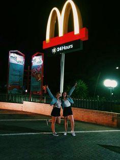 We must go to McDonald's, period. Cute Friend Pictures, Best Friend Pictures, Friend Pics, Bff Pics, Best Friend Goals, My Best Friend, Best Friends, Best Friend Photography, Summer Goals