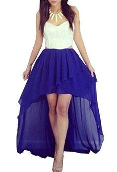 Zeagoo Women's Party Cocktail Asymmetric Dress Strapless Crop Top Chiffon Skirt