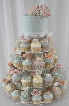 - - - wedding cakes with cupcakes Vintage Hochzeitstorte Ideen - hellblau, rosa, Buttercreme. Vintage Wedding Cupcakes, Wedding Cakes With Cupcakes, Fall Wedding Cakes, Cupcake Cakes, Cupcake Ideas, Vintage Bridal, Vintage Birthday Cakes, Rose Vintage, Wedding Cake Pops